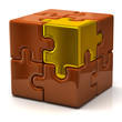 Orange puzzle cube with one golden piece