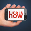 Time concept: Time is Now on smartphone