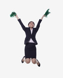 Businesswoman Jumping and Cheering