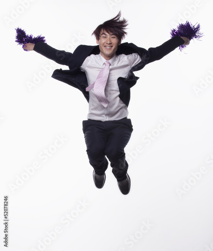 Businessman Jumping and Cheering