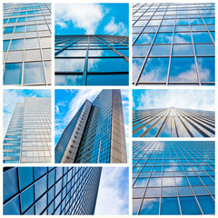 abstract glass skyscraper. Glass wall of office buildings. moder