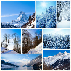 Winter collage. collection of cold weather landscapes with mount