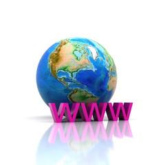 """3D illustration - globe with written """"WWW"""""""