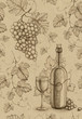 Seamless pattern with pencil drawing of wine bottle and grape