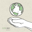 Earth symbol in hands. Vector
