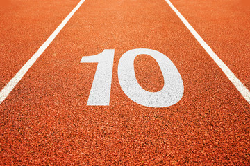 number ten on running track