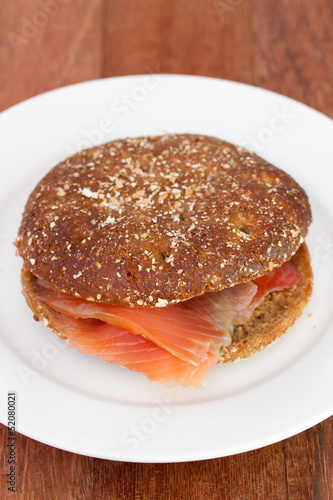 sandwich with salmon on the plate