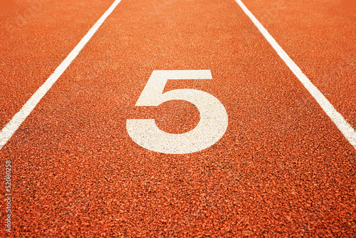 number five on running track