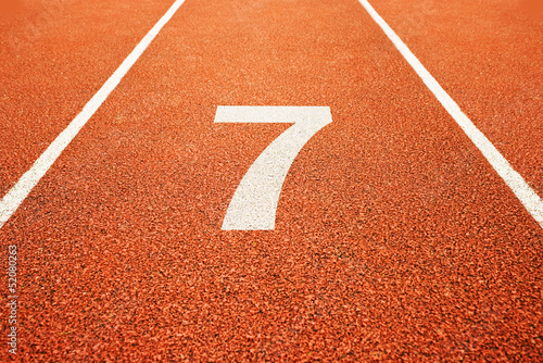 number seven on running track