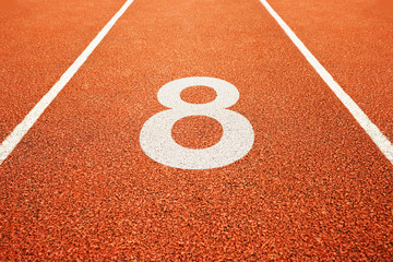number eight on running track