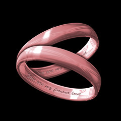 A matching pair of inscribed pink gold rings
