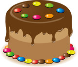 Chocolate cake with colorful smarties, vector illustration
