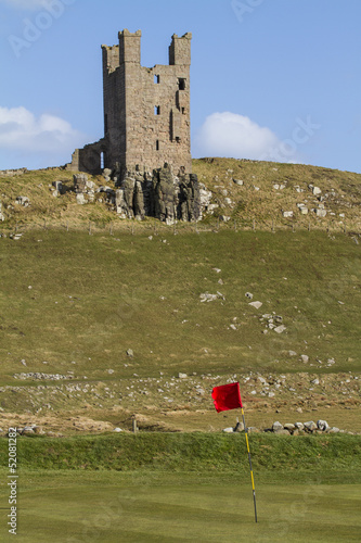 Dunstanburgh Castle Tower above golf course