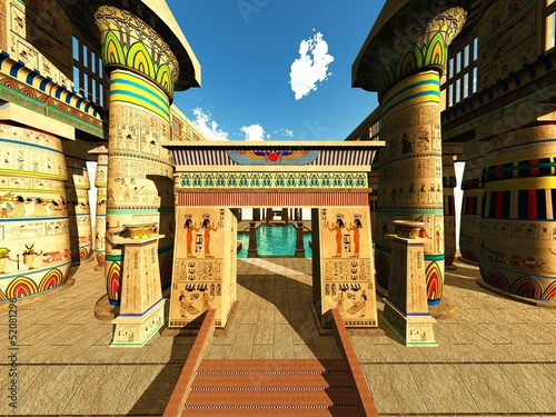 Egyptian columns in a temple