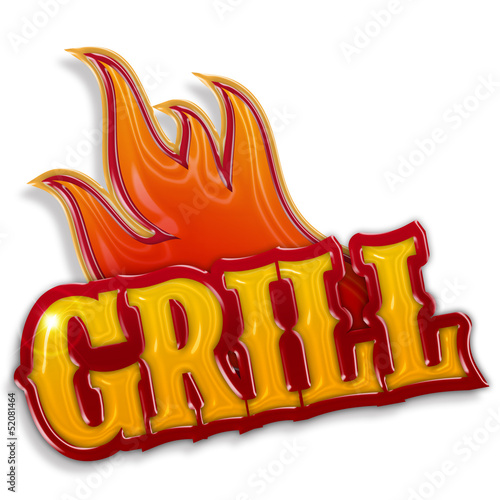 Deurstickers Grill / Barbecue grill label