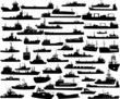 Set of 52 silhouettes of sea yachts, towboat and the ships