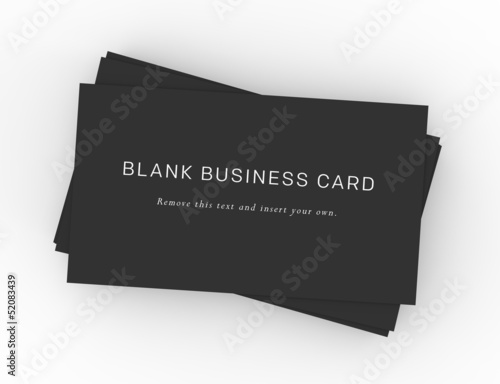 A stack of black business cards