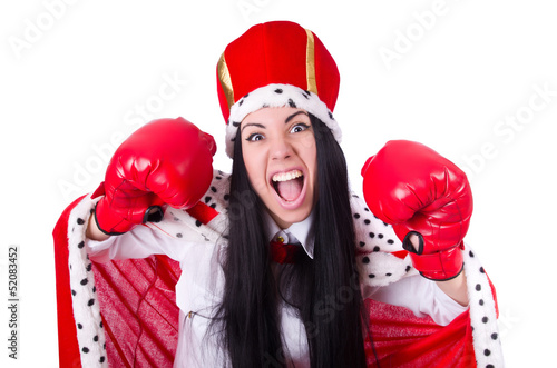 Businesswoman queen with boxing gloves
