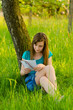 Beautiful teenage girl reading letter in the nature