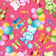 Seamless pattern for birthdays with ballons and teddy bears