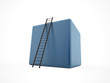 Blue cube with ladder isolated