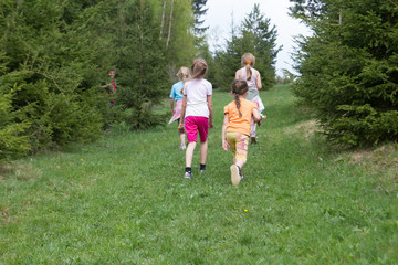 Children spending time in the forest