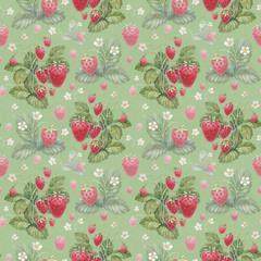 Seamless pattern with watercolor strawberry bush