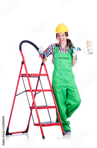 Woman repair worker with ladder