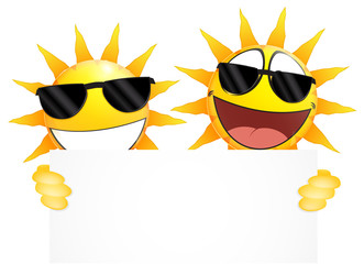 Smiling sun Emoticon holding a Blank sign