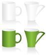 Mug green and white  illustration