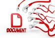 3d graphic of a new document symbol attacked by a cyber network