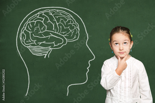 Brain in head on chalkboard