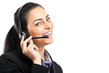 Call center female operator portrait isolated on white