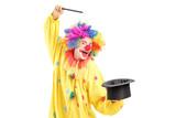 A circus clown performing a magic trick