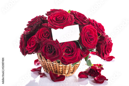 canvas print picture roses in a wicker basket