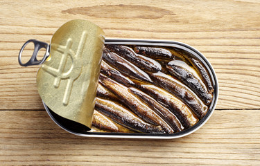 Sprat in an open tin can