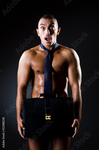 Businessman in red pants half nude