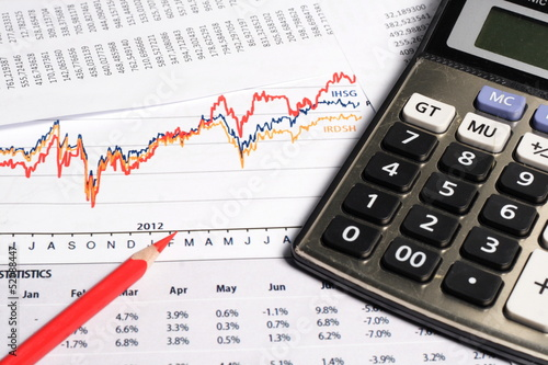 Financial or accounting concept - business chart, calculator