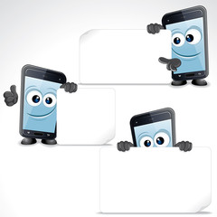 Set of Funny Cartoon Smart Phone. Clip Art