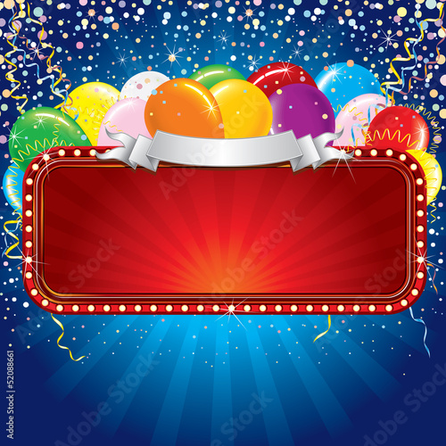 Advertising Billboard with Balloons and Confetti