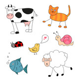 Vector Illustration of Abstract Cartoon Animals