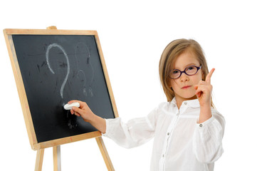 Girl at the Blackboard with Question Mark