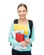 student with books and schoolbag
