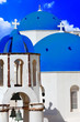 blue churches domes - symbol of unique Santorini