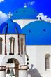 blue churches domes - symbol of unique Santorini