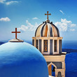 white blue domes of Santorini