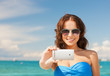 Quadro woman in bikini with phone