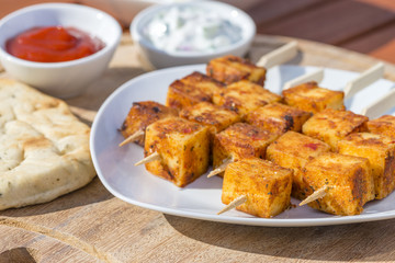 Paneer Tikka Kebab - Tadoori indian cheese skewers.