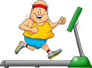 Cartoon of a smiling chubby man on a treadmill