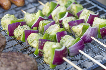 Lime, Mint & Coriander Chicken Kebabs. Barbeque food!